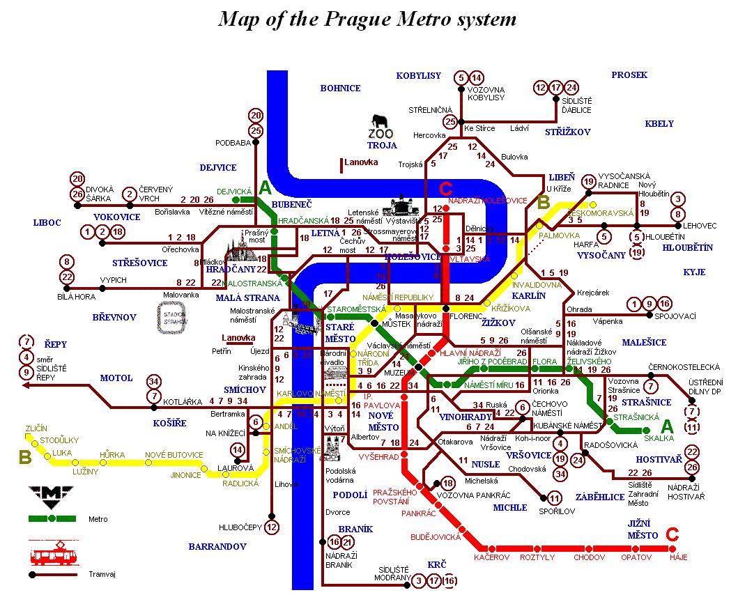 Прага Метро Трамвай Схема