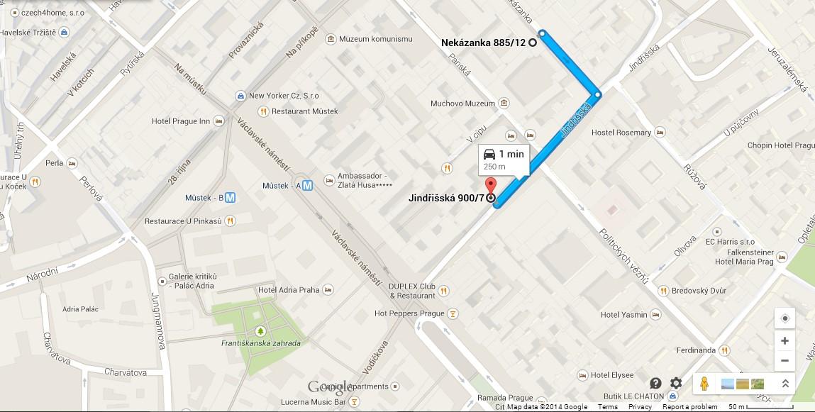 Road to Parking Nekazanka 12 - Jindrisska 7