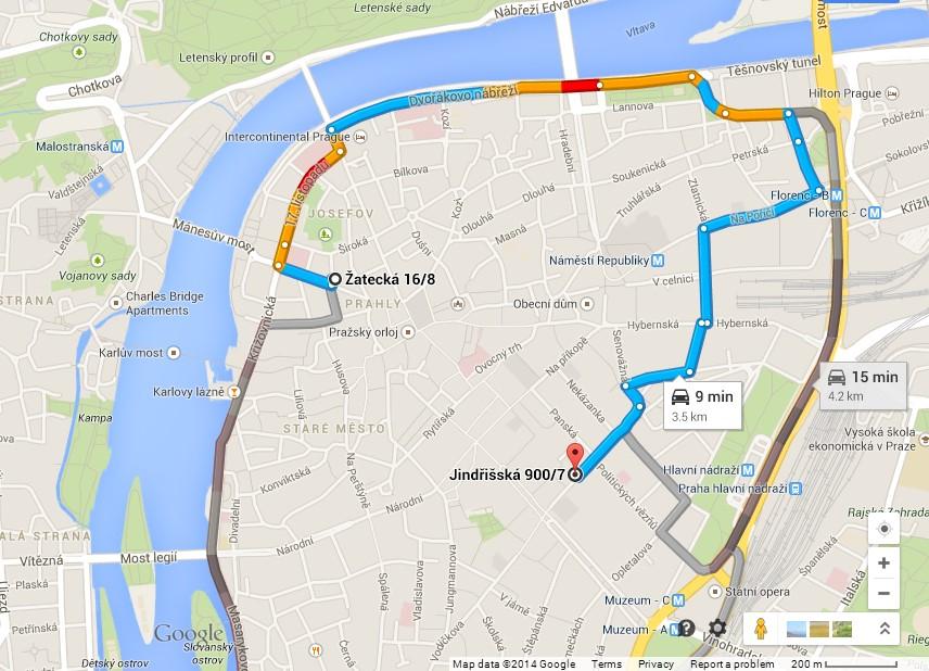 Road to Parking Zatecka 8 - Jindrisska 7